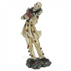 Clown arlequin bouquet de fleur en résine hauteur 25,4 cm, reference CL47001038