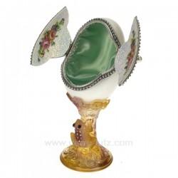 Oeuf veritable vert et blanc Cadeaux - Décoration CL49300043, reference CL49300043