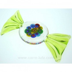 Porte couteaux bonbon Murano en murrine couleurvert clair longueur 7.5 cm, reference CL49600020