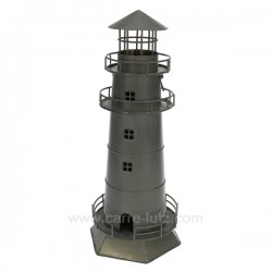 phare en metal gris Thème marine CL50072006, reference CL50072006