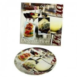Coffret 4 assiettes à fromage en porcelaine décorée Arts de la table CL50120031, reference CL50120031