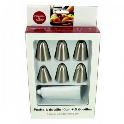 Coffret poche nylonlavable 40 cm 6 douilles inox différents décor, reference CL50150764