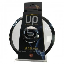 Couvercle en verre trempé diamètre 16 cm bord etbouton inox design AubecqUP, reference CL50155112