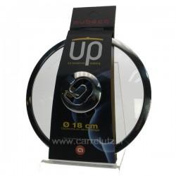 Couvercle en verre trempé diamètre 18 cm  bord et bouton inox design Aubecq UP, reference CL50155113