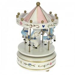 Manege en bois blanc Carrousel manège et boite à musique CL50231027, reference CL50231027