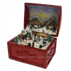 Malle rouge scene d hiver Carrousel manège et boite à musique CL50231049, reference CL50231049