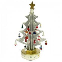 Sapin de Noël blanc scintillant 6 branches entiérement en bois, reference CL50231123