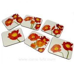 Dessous de verres coquelicots Arts de la table CL70000034, reference CL70000034