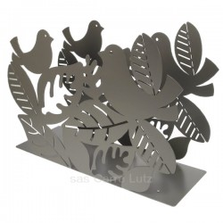 Porte revues en métal peint époxy gris Mascagni oiseaux sur branche, reference CL83000050