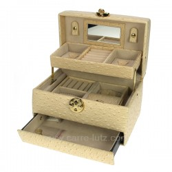 Coffret bijoux en simili cuir et nacre model  canberra, reference CL85000185