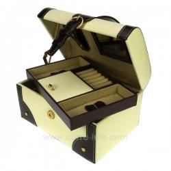 Coffret bijoux cuir beige et marron croco