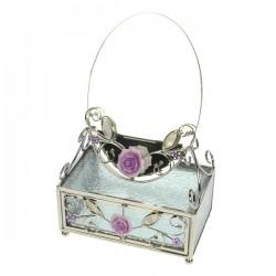 Boite à bijoux en métal, verre et miroirdécoré nacre et strass rose rose, reference CL85000213