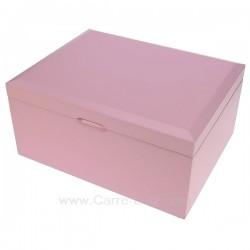 Coffret bijoux Libby rose en bois peint rose intérieur suédine beige, reference CL85000285