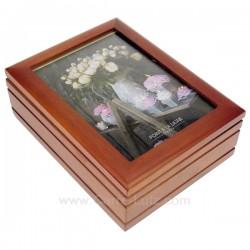 Coffret bijoux musical en bois avec couvercle porte photo, reference CL85000292