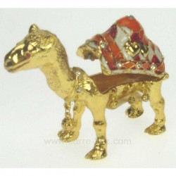 Boite métal émaillé chameau avec strass, reference CL85002014