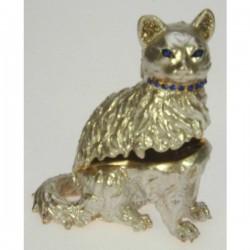Boite à bijoux émaillée avec strass chat , reference CL85002019
