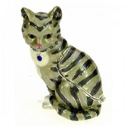 Boite à bijoux émaillée plaqué argent avec cristaux australien chat tigré avec bijoux, reference CL85002059