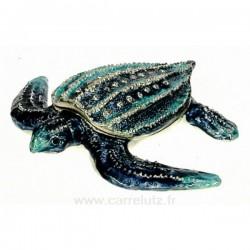 Boite métal émailléplaqué argent avec cristaux australien tortue de mer bleue, reference CL85002062