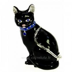 Boite à bijoux émaillée plaqué argent avec cristaux australien chat noir avec bijoux, reference CL85002063