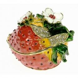 Boite métal émaillé avec cristaux décor fraise, reference CL85002073
