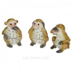 Boite métal émaillé avec cristaux les 3 singes de la sagesse, reference CL85002088