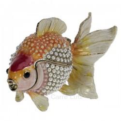 Boitemétal émaillé avec cristaux poisson rouge, reference CL85002089