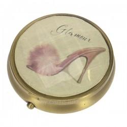 Boite a pillule escarpin en métal laitonné dessus décor facette glamour, reference CL85004007