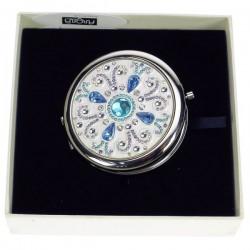 Miroir de sac Azure argenté en métal argent et cristaux turquoise, reference CL85004010