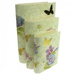 Ensemble de 3 boites forme livre décor fleur papillon, reference CL85005008
