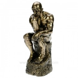 Sculpture en résine et poudre de bronze Rodin le penseur hauteur 24 cm, reference CL88000013