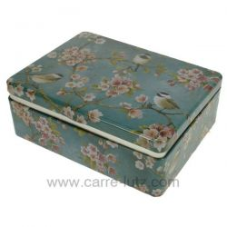 Boite à thé en métal décor fleur de cerisier et oiseaux , reference CL10030429
