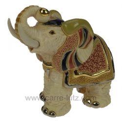 Eléphant indien blanc en céramique platine et or - De Rosa Rinconada , reference CL47200079