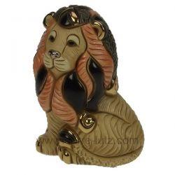 Lion Barbarie en céramique platine et or - De Rosa Rinconada , reference CL47200080