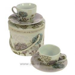coffret 2 tasses à café en porcelaine décorée décor Botanica