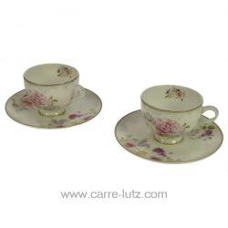 Coffret 2 tasses à café en porcelaine fine bone china décorée Romantic Lace