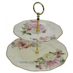 Serviteur muet en porcelaine fine bone china décorée Romantic lace