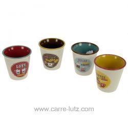 Coffret 4 verres à café en porcelaine décorée retrobreak coffee