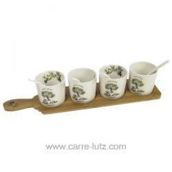 Set 4 coupelles + cuillères en porcelaine décorée douce provence