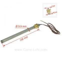 Résistance 250W 9,9 mm longueur 136 mm de poêle à pellet Diamètre 9,9 mm Longueur sous écrou 136 mm avec raccord (12x17) 3/8 ...