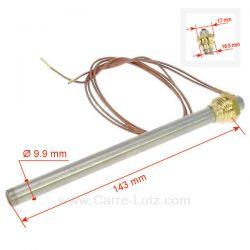 Résistance 250W 9,9 mm longueur 143 mm de poêle à pellet Diamètre 9,9 mm Longueur sous écrou 143 mm avec raccord (12x17) 3/8 ...