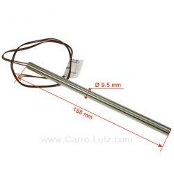 Résistance 250W diamètre 9,5 mm longueur 188 mm de poêle à pellet Diamètre 9,5 mm Longueur 188 mm , reference carre-lutz 703949