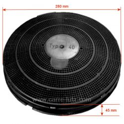 Filtre charbon actif TYPE 40 FAC409 de hotte aspirante A Martin Ariston Bauknecht Ignis Radiola Whirlpool Zanussi , reference...