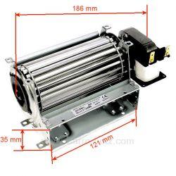 Ventilateur tangentiel 120 mm moteur à droite1 vitesse 20W 230V 50HZ , reference 231037