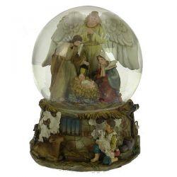 Boule à neige crèche et ange avec socle en résine décorée étable , reference CL50231167