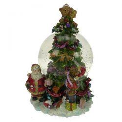 Boule à neige en résine décorée sapin avec cadeaux et père Noël , reference CL50231170