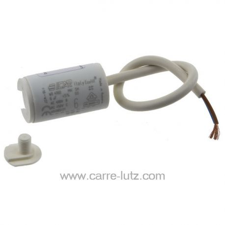 Condensateur permanent à fils 6 MF 450V ICAR Dimensions : Ø30x51mm cable 250mm , reference 23090109