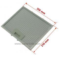 Filtre à graisse métal 256x212mm de hotte aspirante , reference 70190016