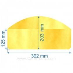 Vitre de poele en Vitrocéramique 392x125x203 arrondi Efel giant Ciney , reference 00105