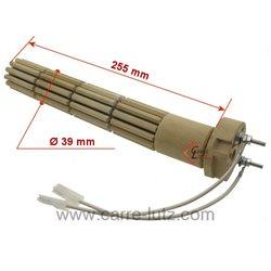 Résistante stéatite de chauffe eau 39 x 255 mm 800W monophasée 2 bornes, reference 703654
