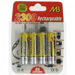 4 PILES R6 2300MAH NI MH Accessoires 997038, reference 997038